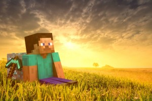 minecraft_steve_sunset